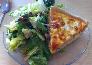absolutely delicious caesar salad and quiche
