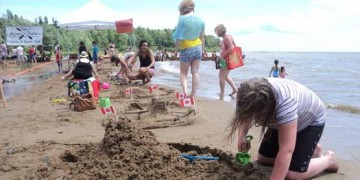 sand castle building lake huron
