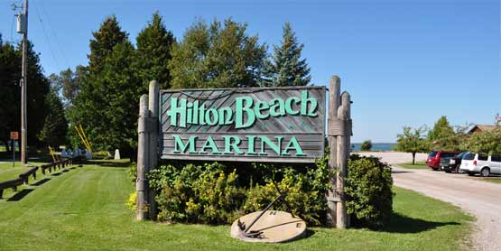 hilton beach marina sign