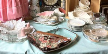 table with antique and vintage items