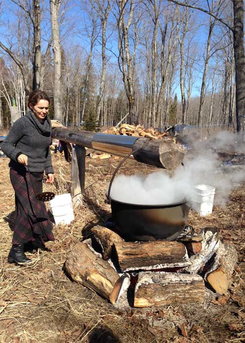 boiling maple sap